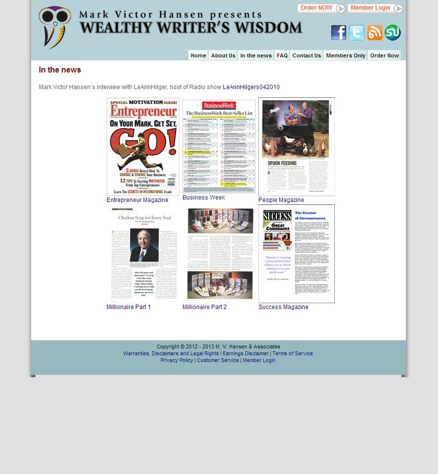 Wealthy Writers Wisdom Subpage